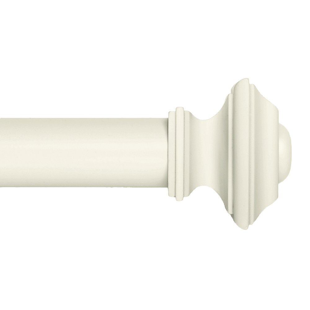 Ivilon Drapery Window Curtain Rod Set - Square Design 1 1/8 Rod. 72 to 144 Inch. Ivory/White