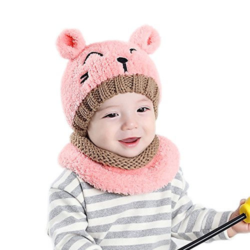 AYUQI Baby and Toddler Cat Shape Beanie Wool Knitting Hat With Scarf For Autumn Winter (Pink) Wool Scarf Hat