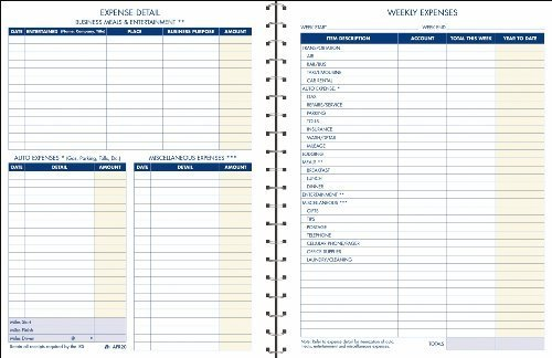 Adams Expense Account Record Book, Spiral Binding, 8.5 x 11 Inches, Clear (AFR20) by TOPS Business Forms, Inc. Office Product
