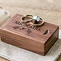 Mr & Mrs Ring Box - Small Ring Bearer Box, Engagement Proposal Wedding Ring Box