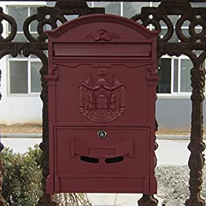 Traditional Aristocratic, Sun Identity Villa Cast Aluminum Mailboxes 49 Colors Available (07 Wine Red)