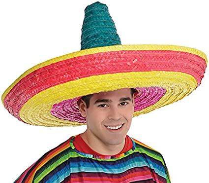 Mexican Giant Jumbo Zapata Straw Sombrero Hat Spanish Cinco De Mayo Costume