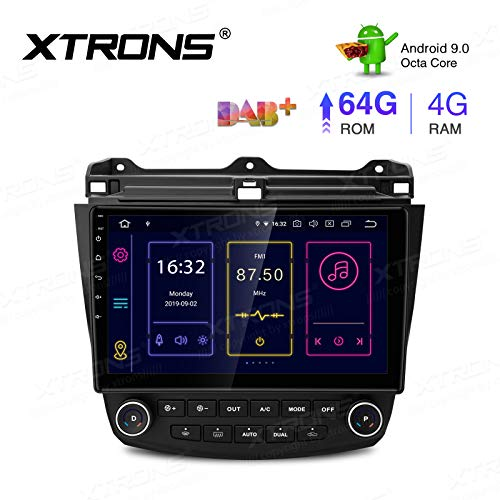 XTRONS 10.1 Inch Android 9.0 Car Stereo Radio Player Octa Core 4G RAM 64G ROM GPS Navigation Multi-Touch Screen Head Unit Supports Screen Mirroring WiFi OBD2 DVR TPMS for Honda Accord (no-DVD Player)