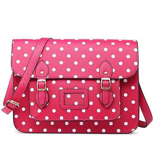 Women Ladies Girls Cambridge Style School Work Satchel Bag Polka Pink