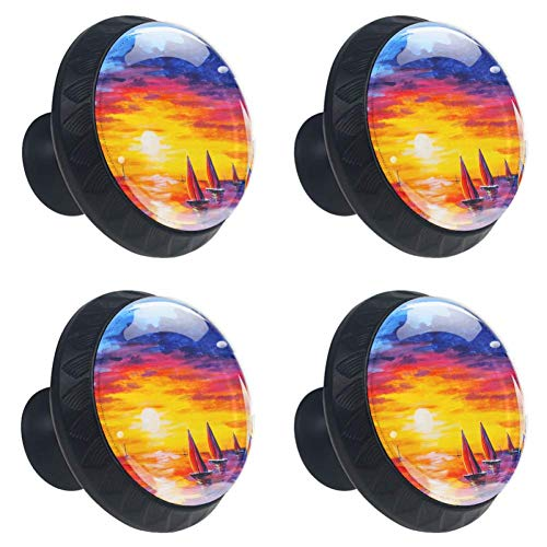 Sunset Sailboat Painting Drawer Knob Pull Handle Crystal Glass Circle Shape Cabinet Drawer Pulls Cupboard Knobs with Screws for Home Office Cabinet Cupboard 4 Pieces ()