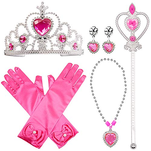 Princess Dress Up Costume Accessories Aurora Set For Princess cosplay Gloves Tiara Wand and Necklace (7 Pieces) ()