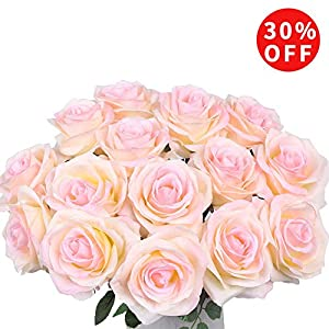Artificial Flowers AmyHomie Silk Roses Bouquet Home Wedding Decoration Pack of 15 104