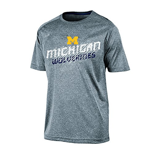 Champion NCAA Michigan Wolverines Men's Short sleeve Crew Neck RA Tee, Medium, Gray Heather