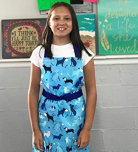 Handmade Tween Girl Blue Dogs Art Craft Kitchen Gift Apron from Sara Sews, Inc.