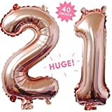40 Inch Rose Gold Jumbo Digital 21 Number Balloons Huge Giant Balloons Foil Mylar Number Balloons For Birthday Party,Wedding, Bridal Shower Engagement Photo Shoot, Anniversary ,21