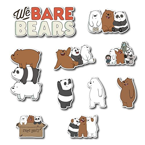 We Bare Bears Set Sticker Grizzly, Panda and Ice Bear Pack Cartoon Decal for Car Window, Bumper, Laptop, Skateboard, Wall, ETC. Set-068