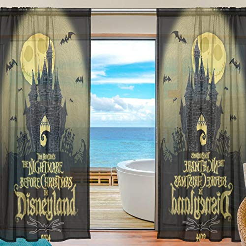 DEYYA Nightmare Before Christmas Sheer Curtain Panels Tulle Polyester Voile Window Treatment Panel Curtains for Bedroom Living Room Home Decor, 55x78 inches Per Panels, Set of 2 -