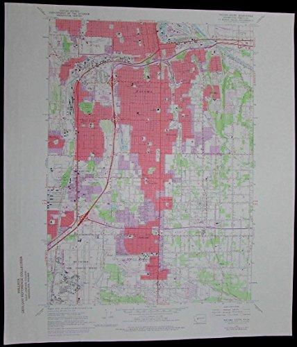Tacoma South Washington McChord Air Force Base vintage 1976 old USGS Topo - Base Chart