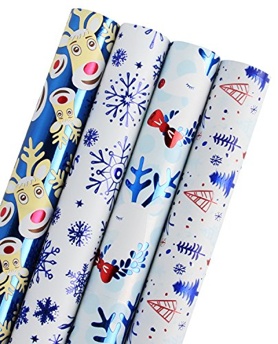 WRAPAHOLIC Christmas Wrapping Paper - Blue Winter Scene with Foil for Christmas Gift Wrap - 4 Rolls - 30 inch X 120 inch Per Roll