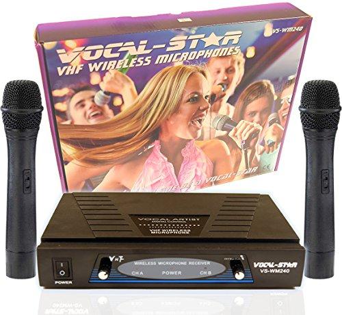 VocalStar WM-240 2 VHF Wireless Microphones Set System,