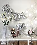 Silver & White Classy Hens Bachelorette KIT - 15 Piece Set: 8 Latex Balloons - 1 3D FOIL Banner Bride - 1 Satin Trimmed Veil - 1 Shiny Ring Balloon