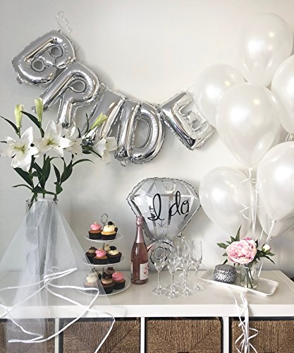 "Bachelorette Party Decorations & Bridal Shower Kit, White & Silver Kit with 8 White Balloons - 1 3D foil Banner""Bride"" - 1 Satin Trimmed Veil - 1 Shiny Ring Balloon - White String"