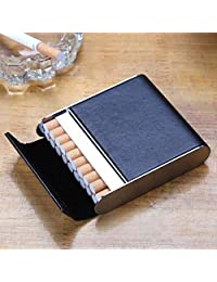 Stainless Steel Cigarette Case Vertical Section Ultra Thin Portable Cigarettes Box Business Gift Can Accommodate 20,Black,9.5X8.2X2.1CM