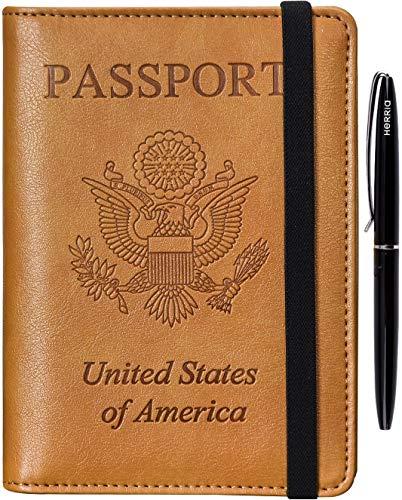 HERRIAT Leather Passport Holder Cover Case RFID Blocking Travel Wallets Card Case