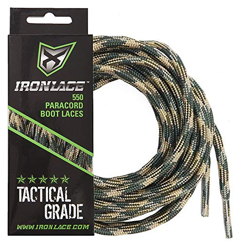 (Ironlace Paracord 550 Shoe Laces for Sneakers, Running, Hikers and Boots, Woodland Camo, 63