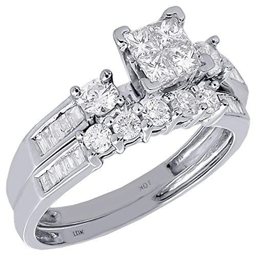10K White Gold Princess, Round, & Baguette Cut Diamond Quad Center Engagement Ring Bridal Set 0.90 Cttw (Diamond Set Invisible Bridal)