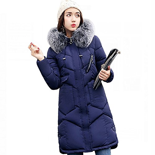 Misschicy Manga Mujer para Abrigo Marino Larga Azul BOfBZqw