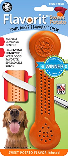 (Pet Qwerks Flavorit Sweet Potato Flavor Infused Nylon Chew- Fillable Dog Bones for Aggressive Chewers, Tough Power Chewer Bone Toys | Made in USA with FDA Compliant Nylon - for Large Breed Dogs)