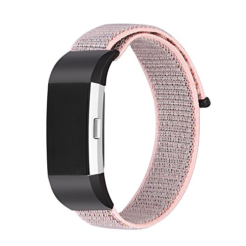 Tomplus Compatible Fitbit Charge 2 Bands, Nylon Bands Replacement Accessory Strap Compatible Fitbit Charge2 Wristbands Women Men Large Small (Pearl Pink, Small(5.5