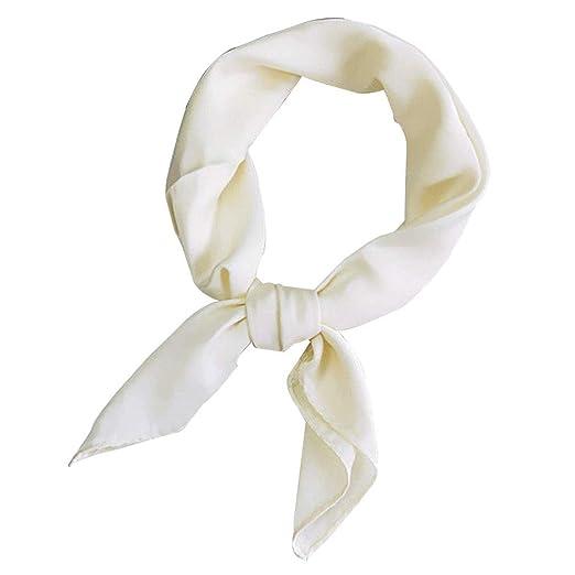 806ade2c2 Women Silk Feel Satin Square Scarf Shawl Small Plain Neckerchief Bandana  Head Neck Headband Solid Color
