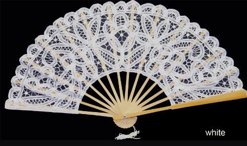 (Creative Linens Battenburg Lace Wedding Bridal FAN WHITE)