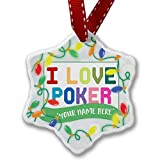 Personalized Name Christmas Ornament, I Love Poker,Colorful NEONBLOND