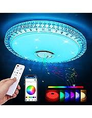 Zorara Led-plafondlamp met bluetooth-luidspreker, 36 W, led-plafondlamp, kleurverandering met afstandsbediening, RGB-muziek, dimbaar, met app-bediening, 3000-6500 K, voor keuken, woonkamer en kinderkamer
