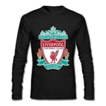 Male Liverpool Fc Logo Custom Long Sleeve T-Shirt Black By Rahk