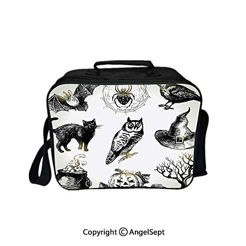 Compartment Lunch Bag for Men, Women,Halloween Related Pictures Drawn by Hand Raven Owl Spider Black Cat Decorative Black White 8.3inch,Lunch Cooler Bag with Shoulder Strap]()