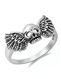 Biker Skull Wings Motorcycle Ring New .925 Sterling Silver Band Sizes 5-12
