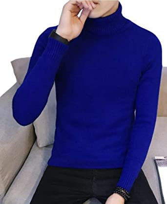 Nanquan Men Long Sleeve Turtleneck Pullover Solid Color Knitted Sweater