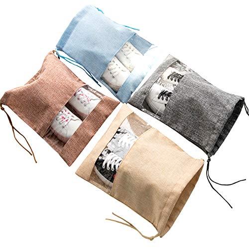 - FashionBoutique Waterproof Shoe Bags with Clear Window- Set of 4 Travel Friends (Sky Blue/Beige/Khaki/Grey)