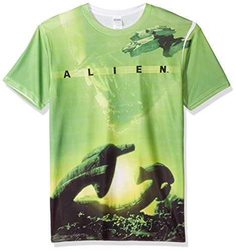 White Alien T-shirt (Trevco Men's Alien Double Sided Print Sublimated T-Shirt, Ship White, Large)