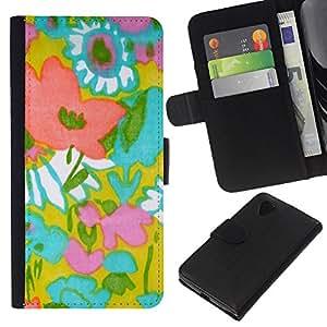 WINCASE Cuadro Funda Voltear Cuero Ranura Tarjetas TPU Carcasas Protectora Cover Case Para LG Nexus 5 D820 D821 - cerceta pastel rosa colores cálidos rayas