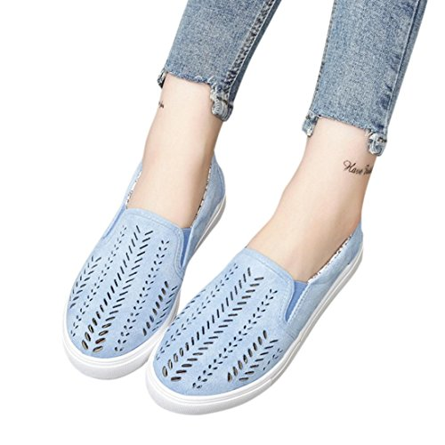 Women Flat Shoes Leisure Boat Shoes Working Shoes Summer Beach Sandals Round Toe Shoes Hemlock (US:8.5, Blue)