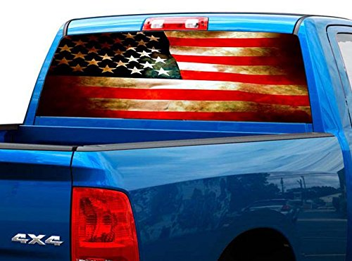 P470 Distressed American Tint Rear Window Decal Wrap Graphic Perforated See Through Universal Size 65