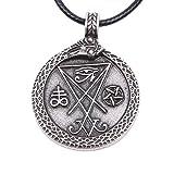 Paw Paw House Sigil of Lucifer Necklace Pagan Wiccan Talisman Church of Satan F4010 (4165 Sigil of Lucifer Antique Silver)