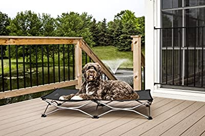 "Carlson Pet Products 8025 Elevated Folding Pet Bed 46"" Long, Includes Travel Case, Gray"