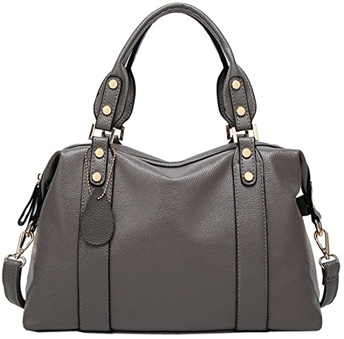 Tote Satchel Grey for Bags Shoulder Women Top Leather Bag Handbag Handle PU Kenoor EWwZ7vqHzE