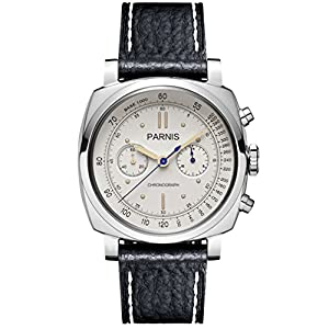 Parnis Pilot Seriers Luminous Mens Leather Watchband Military Sport Chronograph Quartz Watch Wristwatch - White Case White Dial