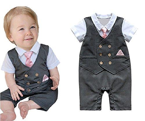 StylesILove Baby Boy Pink Tie Tuxedo Special Event Grey Romper (12-18 Months)