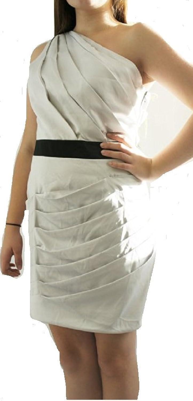 LipsyDamen Kleid, Einfarbig Beige Ivory / Silver