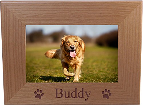 Custom Dog - Engraved Wood Picture Frame Holds 4x6 Inch Photo - Add your dogs ()