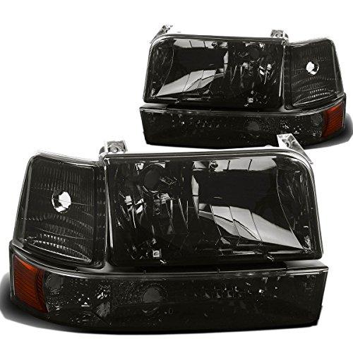 Pair of Smoke Lens Amber Reflector Headlight+Bumper+Corner Lamp for Ford F150 F250 Bronco 92 93 94 95 96 - Front Bumper Brake