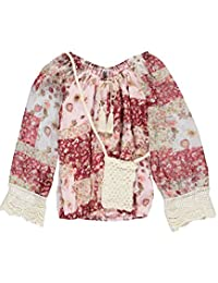 "Beautees Big Girls' ""Floral Crochet"" Top with Phone Pouch"